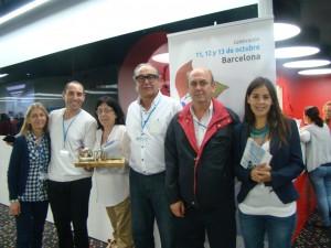 Presidente y director general de UPACE San Fernando -Castro y Porras, respectivamente-, con más miembros de la asociación tras recoger el premio ASPACE IPSEN PHARMA 2013.
