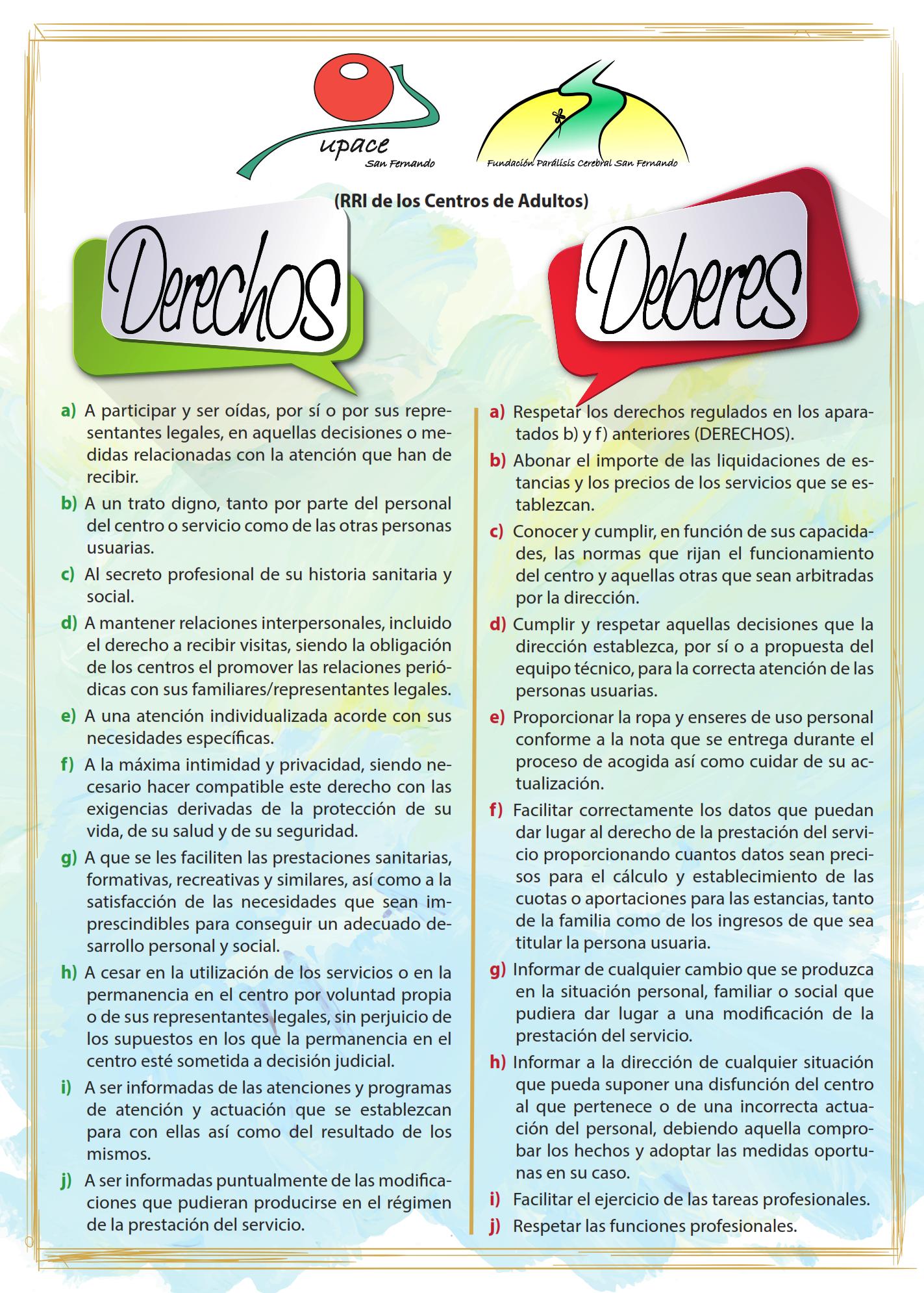 Carta de Derechos y Deberes de UPACE San Fernando | UPACE San Fernando